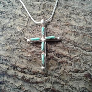 Jewelry - Sterling silver Turquoise vintage cross necklace